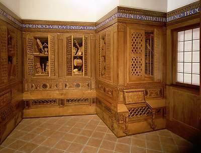 Studiolo from the Ducal Palace in Gubbio, 15th century (ca. 1479–82). Designed by Francesco di Giorgio Martini (1439–1502); Executed by Giuliano da Majano (1432–1490); Italian; Made in Gubbio, Italy. Rogers Fund, 1939 (39.153). Metropolitan Museum di New York