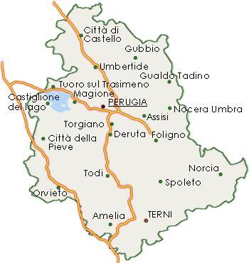 Mappa dell'Umbria